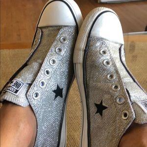One Star Converse Silver Glitter Size 8.5